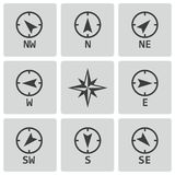 Vector black wind rose icons set Stock Image