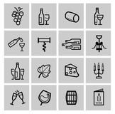 Vector black wine icon set Royalty Free Stock Images