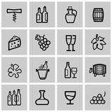 Vector black wine icons set Royalty Free Stock Photography