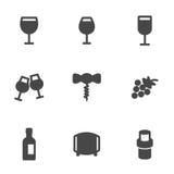 Vector black wine icons set Royalty Free Stock Photos