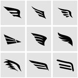 Vector black wing icon set Stock Photos