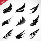 Vector Black Wing Icons Set Stock Image