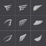 Vector black wing icons set Stock Photos