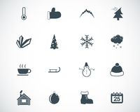 Vector black  winter  icons Royalty Free Stock Photo