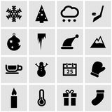 Vector black winter icons  set Stock Images