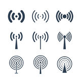 Vector black wireless icons set Stock Photography