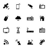 Vector black wireless icons set Royalty Free Stock Images