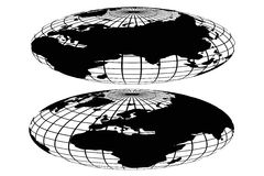 Vector black world globe Stock Images
