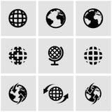 Vector black world map icon set Stock Photo