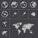 Vector black world map icons set Stock Photo