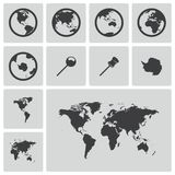 Vector black world map icons set Royalty Free Stock Images