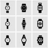 Vector black wristwatch icon set Royalty Free Stock Photos