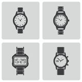 Vector black wristwatch icons set Royalty Free Stock Photos