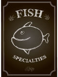 Vector Blackboard fish restaurant menu card Royalty Free Stock Photos
