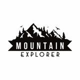 Vector blanco de la plantilla de la insignia de Adventure Black And del explorador de la montaña ilustración del vector