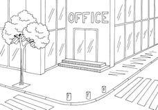 Vector blanco negro gráfico del ejemplo del bosquejo de la ciudad del camino exterior de la calle del edificio de oficinas ilustración del vector