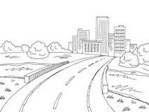 Vector blanco negro gráfico del ejemplo del bosquejo de la ciudad del paisaje del puente del camino Fotografía de archivo