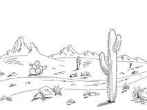 Vector blanco negro gráfico del ejemplo del bosquejo del paisaje del desierto del camino de la pradera