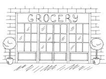 Vector blanco negro gráfico exterior del ejemplo del bosquejo de la tienda del colmado Foto de archivo