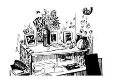 Vector blanco negro gráfico interior del ejemplo del bosquejo de la sala de estar Imagen de archivo libre de regalías