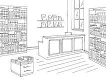 Vector blanco negro gráfico interior del ejemplo del bosquejo de la tienda de la librería ilustración del vector