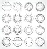 Vector blanco y negro de las etiquetas engomadas de papel redondas del Grunge Imágenes de archivo libres de regalías