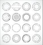 Vector blanco y negro de las etiquetas engomadas de papel redondas del Grunge Fotografía de archivo libre de regalías