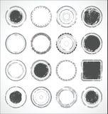 Vector blanco y negro de las etiquetas engomadas de papel redondas del Grunge Foto de archivo