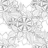 Vector blanco y negro del estampado de flores Imagenes de archivo
