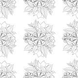 Vector blanco y negro del estampado de flores Fotografía de archivo