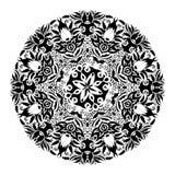 Vector blanco y negro monocromático del ornamento del cordón Fotografía de archivo