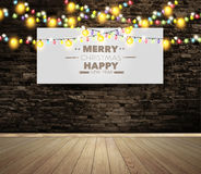 Vector blank billboard or poster on wall room with christmas lights Stock Photography