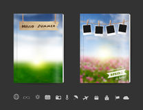 Vector blank book cover design with blurred nature sky grass field Stock Photography