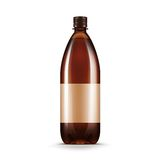Vector Blank Brown Plastic Water Beer Kvass Bottle. Isolated on White Background Royalty Free Stock Photos