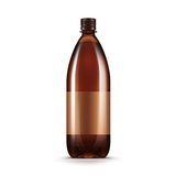 Vector Blank Brown Plastic Water Beer Kvass Bottle. Isolated on White Background Royalty Free Stock Photography