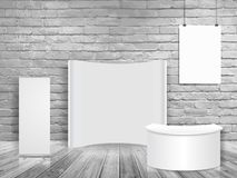 Vector blank exhibition trade show booth mock up in white brick wall room stock illustration