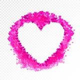 Vector Blank Frame, Pink Hearts Confetti Explosion, Heart Shape Border, Paper Pieces, Wedding Illustration. vector illustration