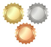 Vector blank glossy serrated medals of gold, silver and bronze t. Hat can be used on diplomas, certificates Royalty Free Stock Photography