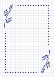 Vector blank for letter or greeting card. Checkered paper, white squared form with hand drawn branch with leaves. Imitation of inc drawing.A4 format size Royalty Free Stock Photos