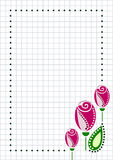 Vector blank for letter or greeting card. Checkered paper, white squared form with pink roses, Stock Images