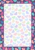 Vector blank for letter or greeting card. Colorful form with hearts and frame. A4 format size.  royalty free illustration
