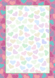 Vector blank for letter or greeting card. Colorful form with hearts and frame. A4 format size.  stock illustration