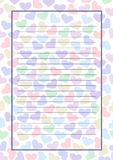 Vector blank for letter or greeting card. Colorful form with hearts, lines and frame. A4 format size Stock Image