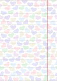 Vector blank for letter or greeting card. Paper of notebook, white form with hearts and lines. A4 format size Stock Images