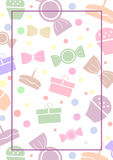 Vector blank for letter or greeting card. White paper form with colorful gifts; sweets; lines and border. A4 format size.  vector illustration