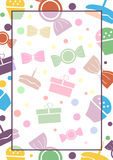 Vector blank for letter or greeting card. White paper form with colorful gifts, sweets, lines and border. A4 format size Royalty Free Stock Photos