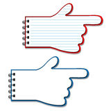 vector blank lined notebooks - pointers of hand Stock Image