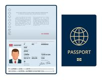 Vector Blank open passport template. International passport with sample personal data page. Document for travel and. Immigration. Isolated vector illustration royalty free illustration