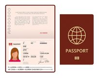 Vector Blank open passport template. International passport with sample personal data page. Document for travel and. Immigration. Isolated vector illustration Stock Photography