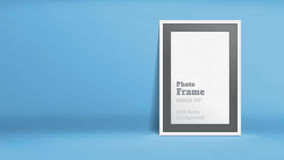 Vector, Blank Photo Frame in blue studio room, Template mock up. For display or montage of your content,Business presentation backdrop, 16:9 ratio background Royalty Free Illustration